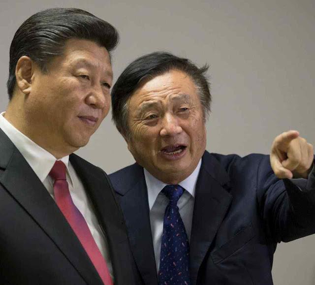 Ren Zhengfei, militar aposentado, na foto com Xi Jingping, é o único proprietário conhecido da Huawei e só tem o 1%