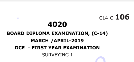Sbtet Diploma urveying-1 March/April 2019 Previous Question Paper c14