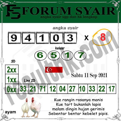 Forum Syair SGP Sabtu 11 September 2021