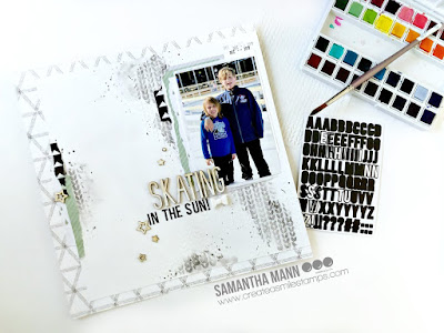 Skating in the Sun Layout by Samantha Mann for Create a Smile Stamps, Scrapbook Layout, Mixed Media, Embossing Paste, Stencil, Watercolor, Winter #layout #scrapbook #winter #createasmile