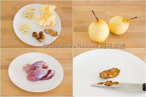 雪梨雪耳豬展湯材料 Snow Pear and Snow Ear Fungus Soup Ingredients