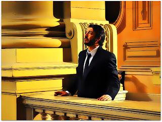 Benjamin Esposito (Ricardo Darín) fuma no Palácio da Justiça (O Segredo dos Seus Olhos)