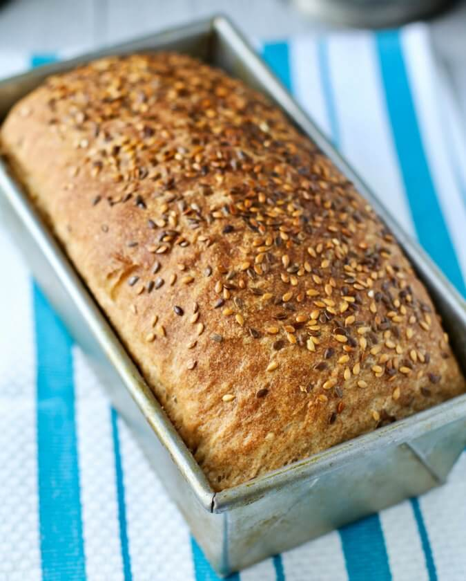 No Knead Sprouted Wheat and Flax Seed Loaf