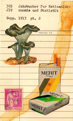 library due date card, postage stamp france lady liberty merit cigarettes mushroom fungi dada fluxus mail art collage