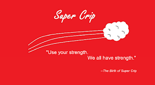 Image of swooshing lines leading to cloud suggesting explosion taken from the book cover along with the words Super Crip on; below logo reads Use your strength. We all have strength. --The Birth of Super Crip