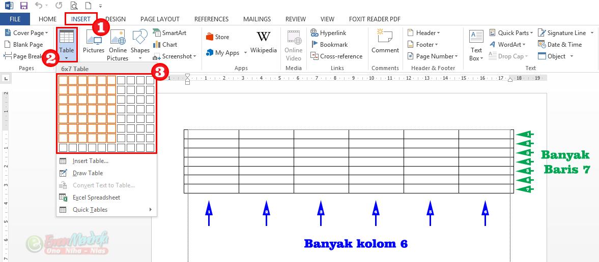 Cara membuat tabel di word dengan grid kolom dan baris