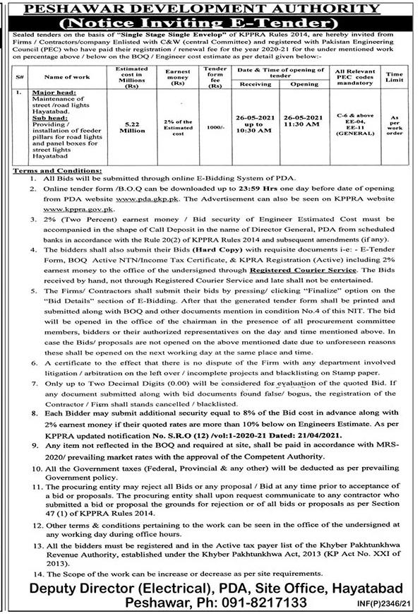 Peshawar-Tender-2021-16-May-Development-Authority