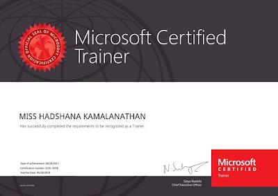 First woman microsoft certified trainer (MCT) in Sri Lanka.