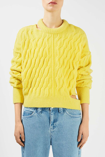 topshop unique yellow jumper, levy jumper, yellow unique jumper, jumper holes yellow,