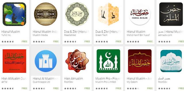 Aplikasi Android Hisnul Muslim yang berisi kumpulan Doa sehari-hari dalam Islam