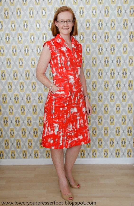 butterick 6473 vintage wing collar wiggle dress in red and white www.loweryourpresserfoot.blogspot.com