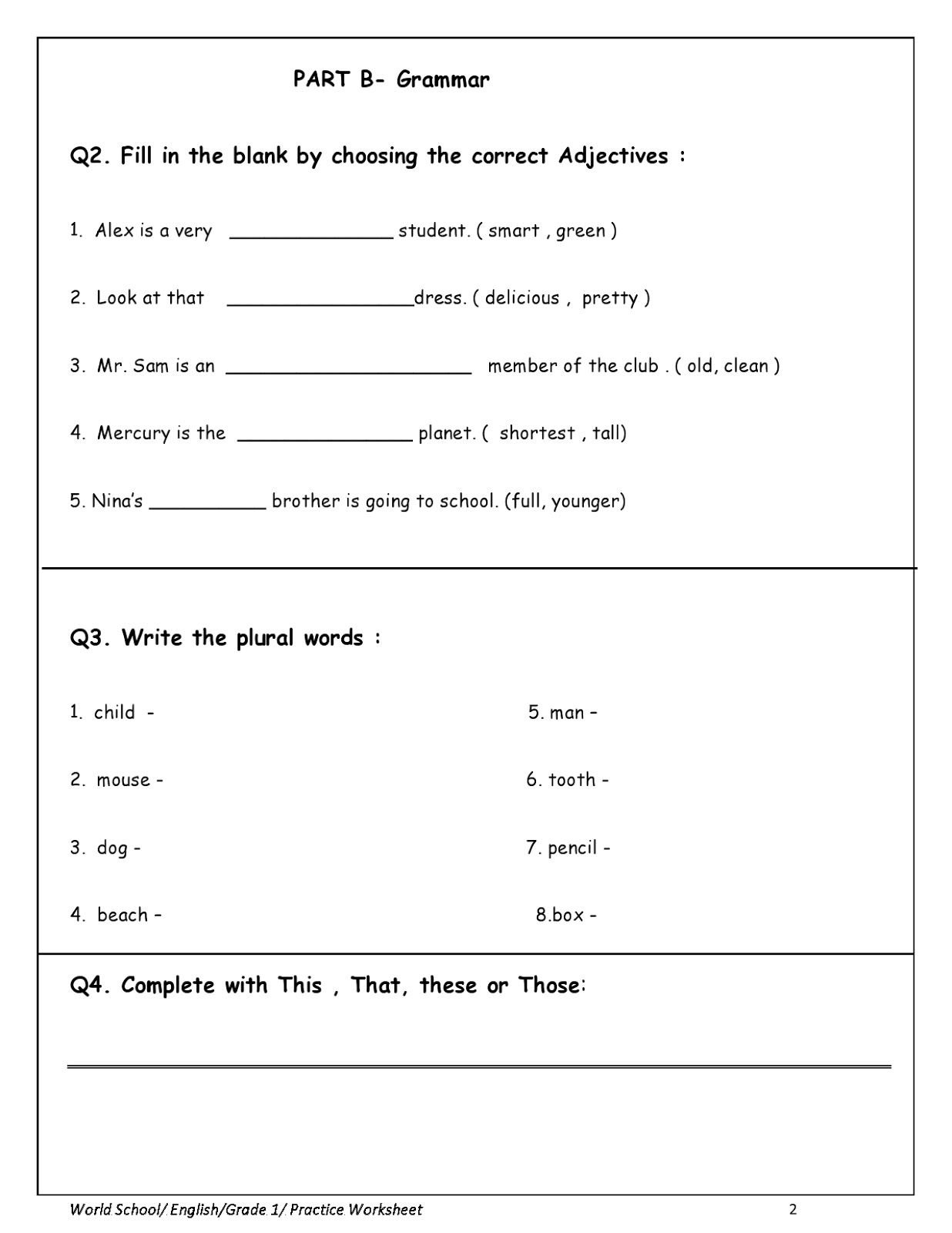 Homework for Grade 1 as on 07/04/2020   WORLD SCHOOL OMAN [ 1600 x 1236 Pixel ]
