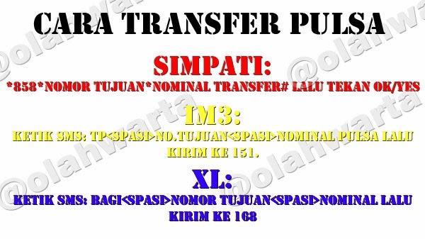 Format sms · buka menu pesan pada smartphone sobat · kirim ke no 168 · adapun format yang dimaksud adalah bagi(spasi)nomor tujuan(spasi)nominal pulsa · contoh. Cara Transfer Pulsa Simpati, IM3, XL, 3, Smartfren