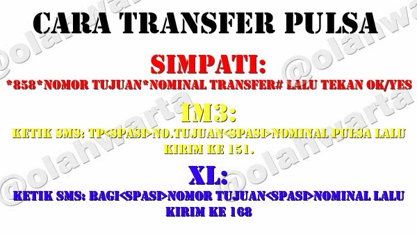 Cara Transfer Pulsa Simpati, IM3, XL, 3, Smartfren