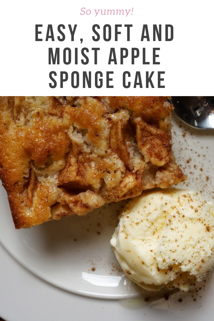 Easy and soft apple sponge cake, done with a traditional Scandinavian recipe. Very moist and mooreish cake!