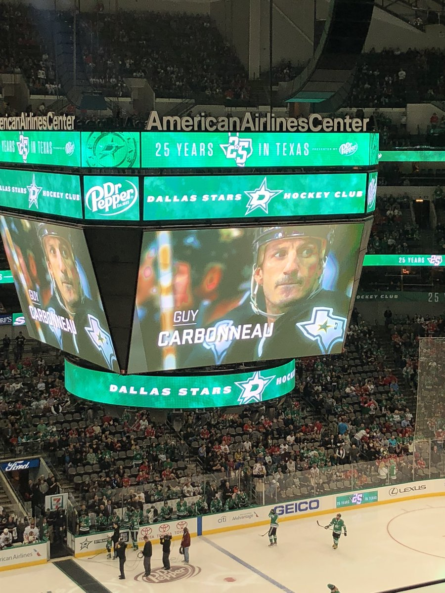 ... the Dallas Stars have been honoring alumni players before games. Last  night was Guy s turn to be honored and he took part in the ceremonial puck  drop. 67d594040
