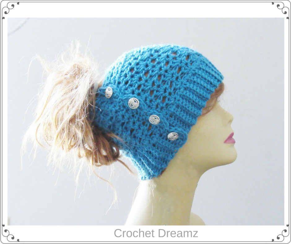 63cfe7b36cea1 Ponytail or Messy Bun Hat Crochet Pattern