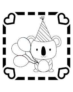 דף צביעה קואלה בלונים ליום הולדת