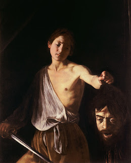 Caravaggio's David with the Head of Goliath features Caravaggio's own face on the head