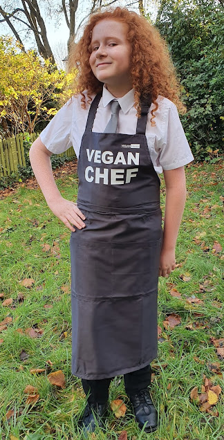 Vegan Happy apron  on 5ft tall boy