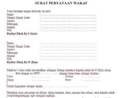 Format Surat Pernyataan Wakaf