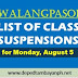 List of class suspensions for Monday, August 5