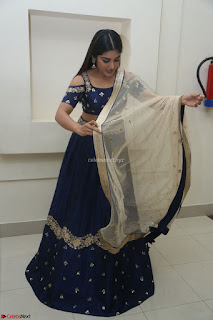 Niveda Thomas in Lovely Blue Cold Shoulder Ghagra Choli Transparent Chunni ~ Exclusive Celebrities Galleries 087