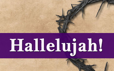 Hallelujah against a purple sash, superimposed on a crown of thorns