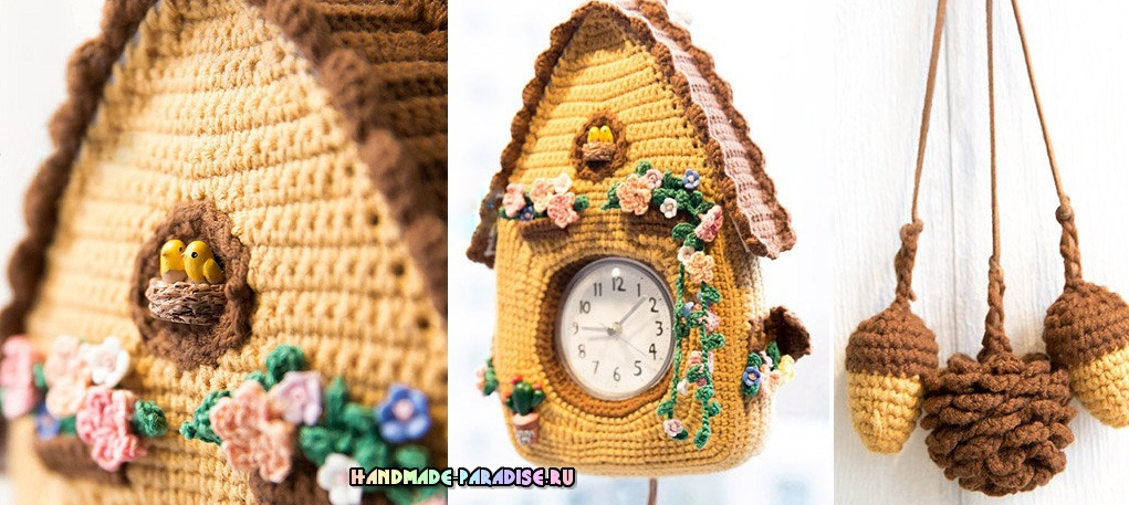 Часы с кукушкой крючком. Схемы вязания (1)