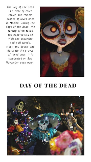 The land of the remembered is ruled by the gracious La Muerte and is full of vibrant colors and sugar skulls and lots of marigolds. The land of the forgotten is led by the Xibalba. On this day, the living remembers the deceased by reciting funny and happy memories of life over their decorated graves. These pass on their memories to generations after generation keeping them alive for ages.