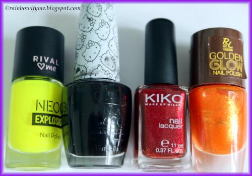 Rival De Loop: Sunny Side, OPI: Never Have Too Mani Friends; Kiko #493, Rival De Loop: Orange Sunset