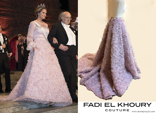 Princess Madeleine wore a specially designed pink rose patterned dress by Swedish designer Fadi el Khoury