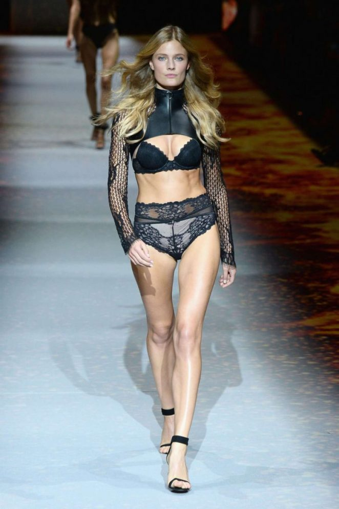 Constance Jablonski strips to lingerie for the Etam Paris Fashion Week Show