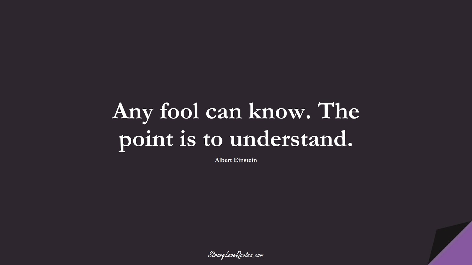 Any fool can know. The point is to understand. (Albert Einstein);  #EducationQuotes
