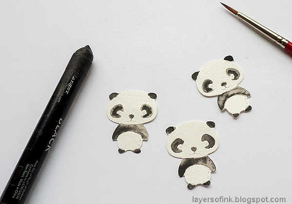Layers of ink - Panda Shaker Card Tutorial by Anna-Karin Evaldsson. Color the pandas.