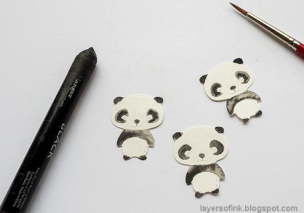 Layers of ink - Panda Shaker Card Tutorial by Anna-Karin Evaldsson. Color the pandas.