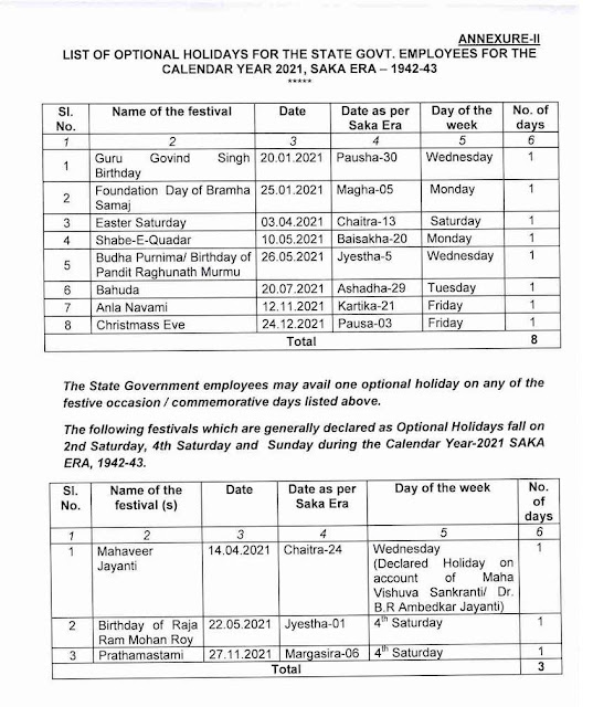 Orissa govt. optional holiday list 2021