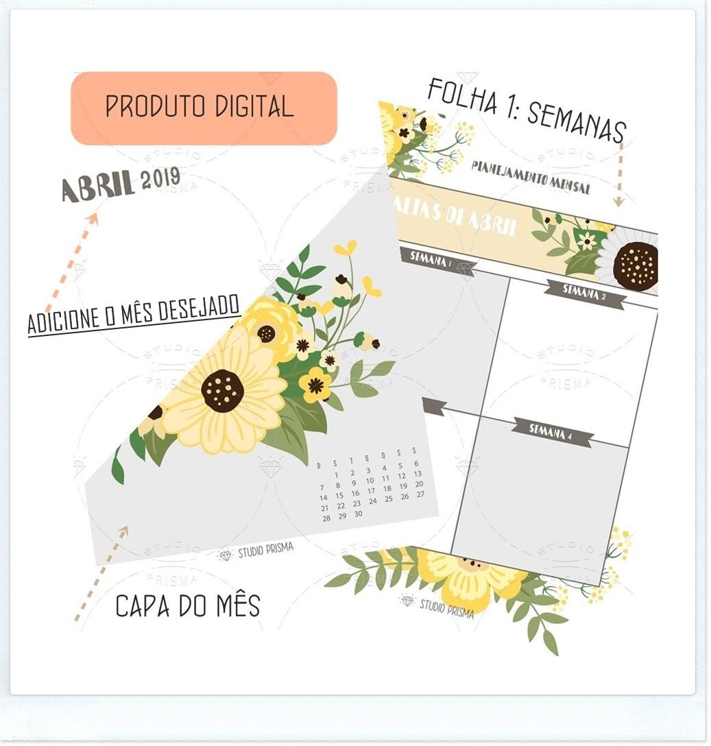 Planner para Metas Personalizado: planejemento mensal ou anual