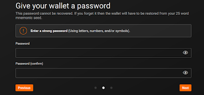 Monero wallet choose password