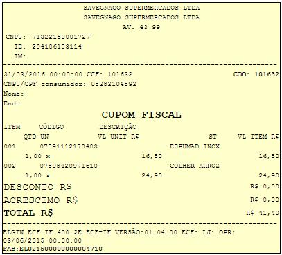 Cupom Fiscal 101632 do Savegnago Supermercados de Barretos-SP Loja 15 da av. 43 - Diferença de preço na compra de uma colher de arroz em relação a etiqueta e Caixa
