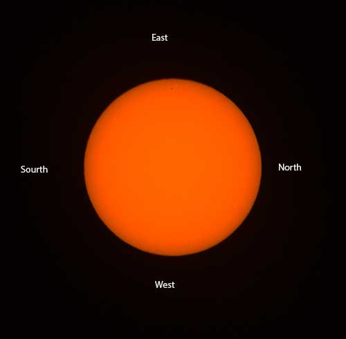 "The sun image drifts to the bottom of the camera viewfinder indicating ""west"" cardinal direction"