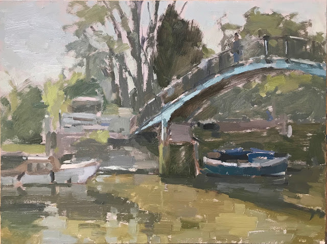 #326 'Footbridge to Eel Pie Island' 9×12″