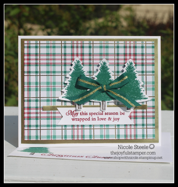 Stampin' Up!'s Perfectly Plaid trio of trees using the Pine Punch and Wrapped in Plaid DSP