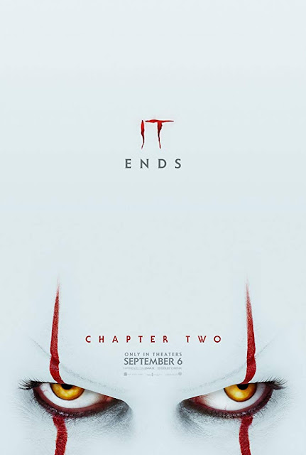 Movie poster for Warner Bros. and New Line Cinema's 2019 horror drama It Chapter Two, starring James McAvoy, Jessica Chastain, Bill Skarsgad, Bill Hader, James Ransone, Jaeden Martell, Finn Wolfhard, Jack Dylan Grazer, and Sophia Lillis