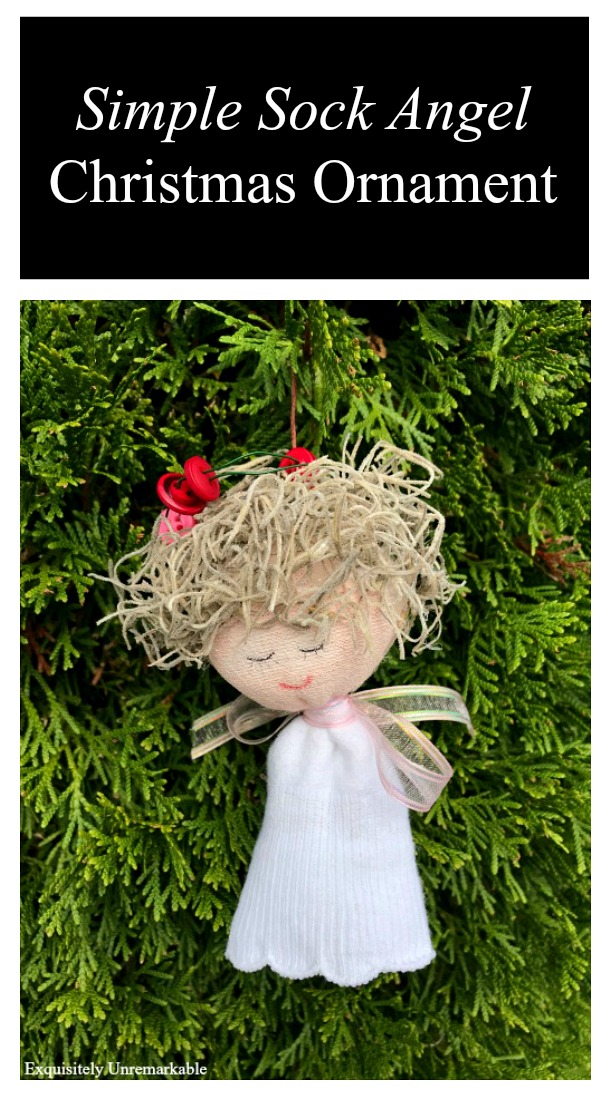 Simple Sock Angel Christmas Ornament