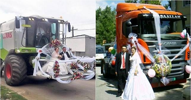 10 Kendaraan pernikahan paling unik, dari truk hingga buldoser