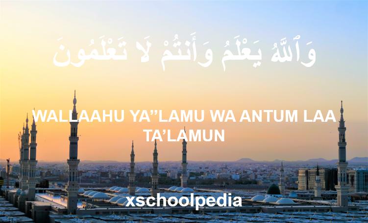 Wallahu Ya'lamu Wa Antum La Ta'lamun