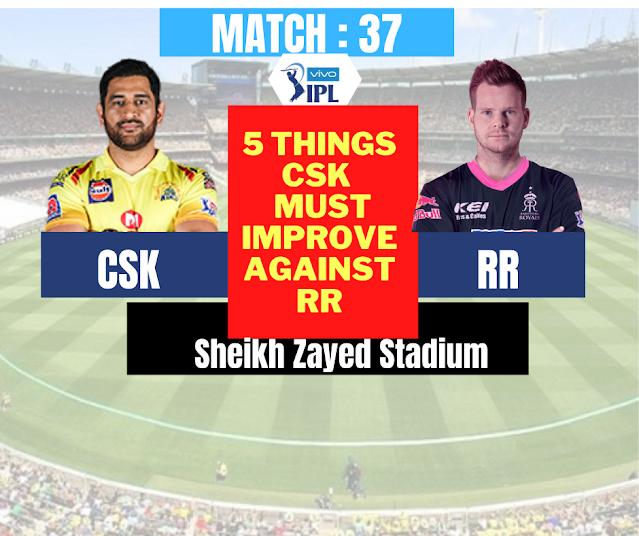 IPL 2020 : CSK VS RR, 5 Things CSK  must improve against RR in order to win the match