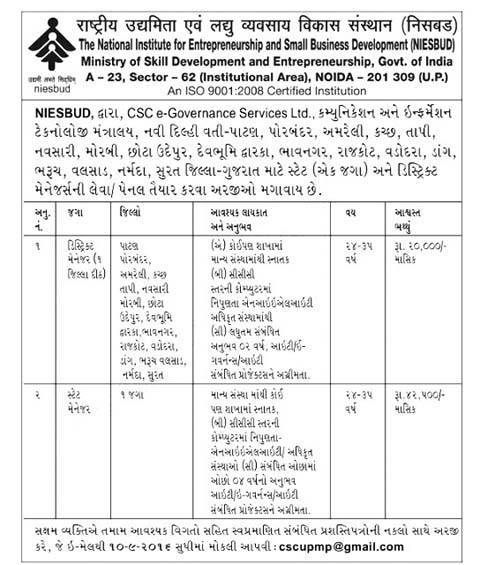NIESBUD Gujarat Recruitment 2016 for 19 Manager Posts