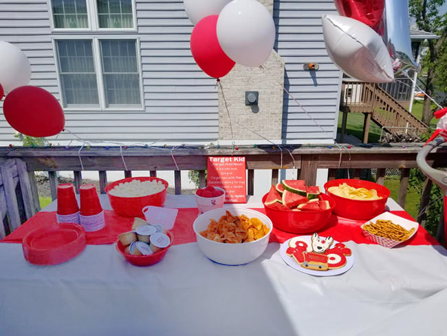 Target-themed birthday party food table
